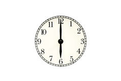 Analog six' clock with clipping path. Circle Clock Face on white background Royalty Free Stock Photos
