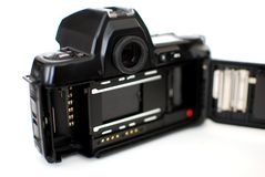 Analog SLR Camera Pictured From The Back Where The 35 mm Film Is Inserted Royalty Free Stock Images