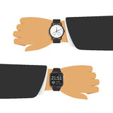 Analog and smart watch. Smart watch and analog watch on businessman hand. Two different types of watches on the arm. Vector illustration in flat style. EPS 10 vector illustration