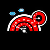Analog Speedometer. This is analog motorcycle speedometer. It`s consist of speed number, turn right-left indicator, main lamp and gasoline indicator vector illustration