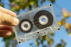 Analog stara audio kaseta w ręce fotografia royalty free