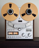 Analog Stereo Open Reel Tape Deck Recorder. With large reels stock images