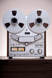 Analog Stereo Open Reel Tape Deck Recorder. With large reels stock photos