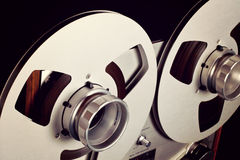 Analog Stereo Open Reel Tape Deck Recorder Spool Closeup Royalty Free Stock Photography