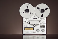Analog Stereo Open Reel Tape Deck Recorder Vintage Closeup. Analog Stereo Open Reel Tape Deck Recorder Vintage Detailed Closeup royalty free stock photos