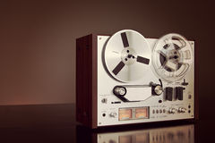Analog Stereo Open Reel Tape Deck Recorder Vintage Closeup Royalty Free Stock Image