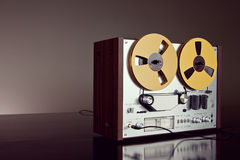 Analog Stereo Open Reel Tape Deck Recorder Vintage Closeup Stock Photo