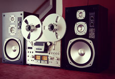 Analog Stereo Open Reel Tape Deck Recorder Vintage with Speakers Royalty Free Stock Photo