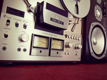 Analog Stereo Open Reel Tape Deck Recorder VU Meter. Device Closeup stock images