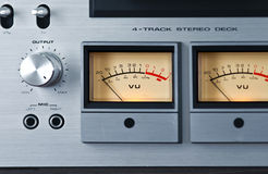 Analog Stereo Open Reel Tape Deck Recorder VU Meter Royalty Free Stock Photos