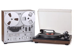 Analog Stereo Reel Recorder Player. Analog Stereo Reel Tape Recorder Player and Analog turntable stock photo