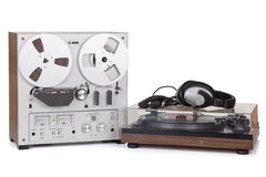 Analog Stereo Reel Tape Recorder Player. And Analog turntable stock image