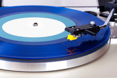 Analog Stereo Turntable Vinyl Blue Record Player Headshell Royalty Free Stock Photo