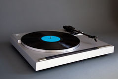 Analog Stereo Turntable Vinyl Record Player. Side view Stock Photography
