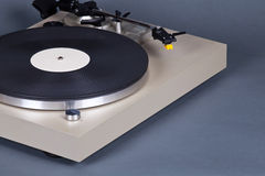 Analog Stereo Turntable Vinyl Record Player with Black Disk Royalty Free Stock Photography