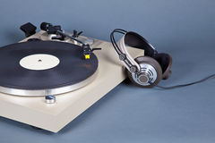 Analog Stereo Turntable Vinyl Record Player with Black Disk Stock Photography