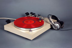 Analog Stereo Turntable Vinyl Record Player Stock Photo
