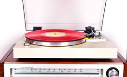 Analog Stereo Turntable Vinyl Record Player with Red Disk Stock Photography