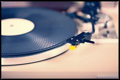 Analog Stereo Turntable Vinyl Record Player Tonearm Cartridge. Closeup Royalty Free Stock Image