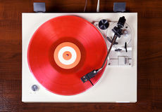 Analog Stereo Turntable Vinyl Record Player. Top View Royalty Free Stock Photo