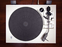 Analog Stereo Turntable Vinyl Record Player. Top View royalty free stock photos