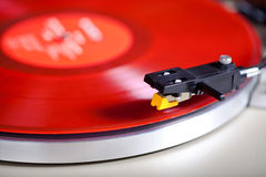 Analog Stereo Turntable Vinyl Red Record Player Headshell Cartri Royalty Free Stock Photo