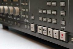 Analog Tape Machine Detail. Closeup of the controls on an analog reel to reel tape machine Royalty Free Stock Image