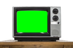 Analog Television on White with Chroma Key Green Screen Royalty Free Stock Images
