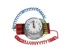 Analog time bomb. On white background Royalty Free Stock Photography