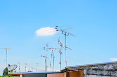 Analog TV antennas and satellite dishes Stock Photography