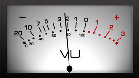 Analog VU Meter. A 10 second loop of an analog VU meter with needle moving across-band. HD 1080. 4:3 version available stock video footage