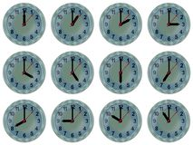 Analog watch 12 time zones Royalty Free Stock Photos