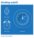 Analog watch. Set of watches executed in a vector vector illustration