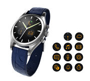 Analog wristwatch with digital touch screen, and blue leather wristband Stock Images