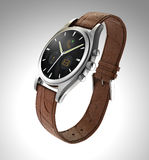 Analog wristwatch with digital touch screen, brown leather wristband Stock Images
