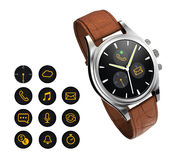 Analog wristwatch with digital touch screen, brown leather wristband Stock Photo