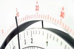 Analoge de multimeterschaal van het maatregelenhulpmiddel met wijzer Stock Foto