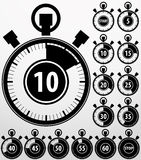 Analoge geplaatste tijdopnemerpictogrammen, vector Stock Foto's