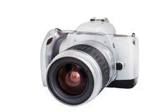 Analoge Kamera auf Format des Filmes 35mm lokalisiert auf einem weißen Hintergrund lizenzfreie stockfotografie