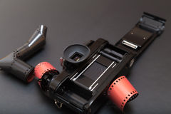 Analoge reflexcamera met Broodjesfilm Stock Afbeeldingen