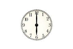 Analoge six Uhr mit Beschneidungspfad Lizenzfreie Stockfotos