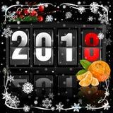 Analoger Kalender des Anzeigetafelleichten schlages für neues Jahr 2018 auf dunklem Hintergrund Lizenzfreie Stockbilder