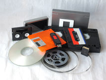 Analogic and digital memory supports. Old and new storage mediums Royalty Free Stock Images
