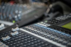 Analogic Sound Mixer. Professional audio mixing console radio and TV broadcasting.  Stock Photo