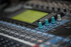 Analogic Sound Mixer. Professional audio mixing console radio and TV broadcasting Royalty Free Stock Image