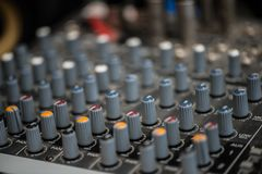 Analogic Sound Mixer. Professional audio mixing console radio and TV broadcasting.  Royalty Free Stock Image