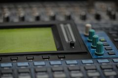 Analogic Sound Mixer. Professional audio mixing console radio and TV broadcasting Stock Images