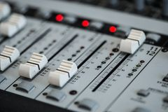 Analogic Sound Mixer. Professional audio mixing console radio and TV broadcasting.  Stock Photos