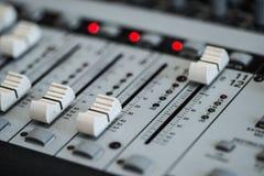 Analogic Sound Mixer. Professional audio mixing console radio and TV broadcasting Stock Photos