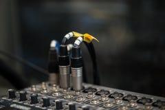 Analogic Sound Mixer. Professional audio mixing console radio and TV broadcasting Royalty Free Stock Photo